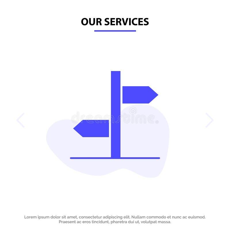 Nasz usługa kierunek, Logistycznie, Wsiada, Podpisuje, Stałego glif ikony sieci karty szablon ilustracji