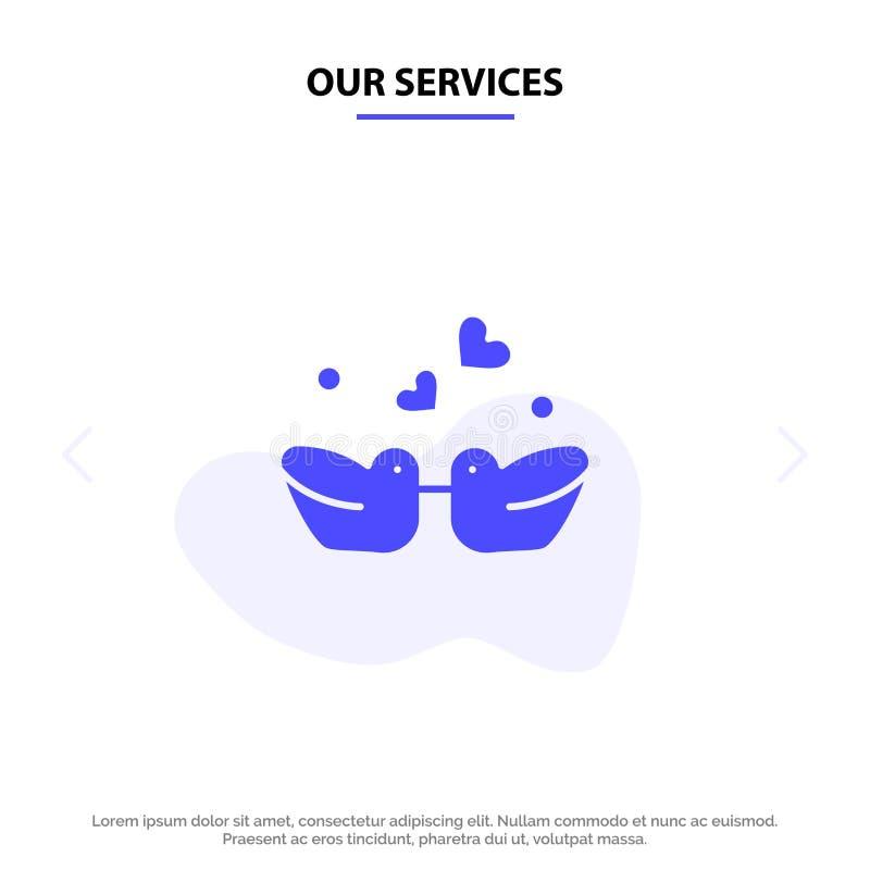 Nasz usługa ptaki, Lovebirds, para, kaczka glifu ikony sieci karty Stały szablon ilustracja wektor