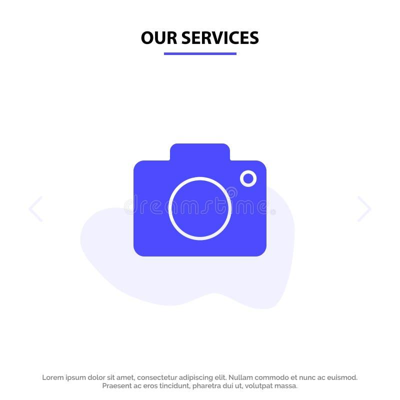 Nasz usługi Świergolją, wizerunek, obrazek, kamera glifu ikony sieci karty Stały szablon royalty ilustracja