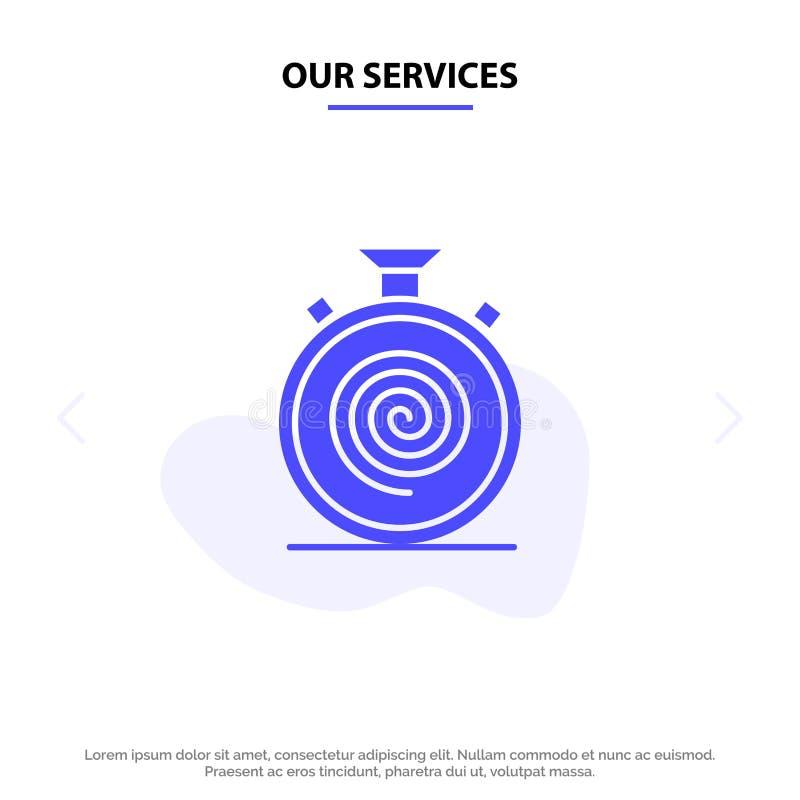Nasz usługi akcja, cykl, przepływ, Nonstop, Wolny Stały glif ikony sieci karty szablon, royalty ilustracja