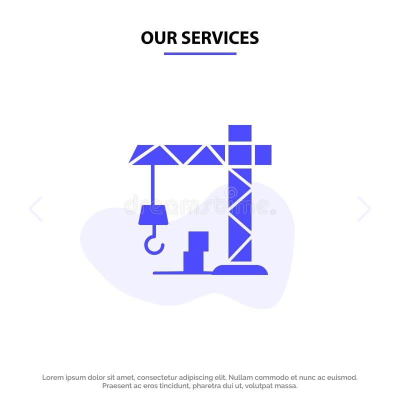 Nasz usługi architektury, budowa, Dźwigowy Stały glif ikony sieci karty szablon ilustracji