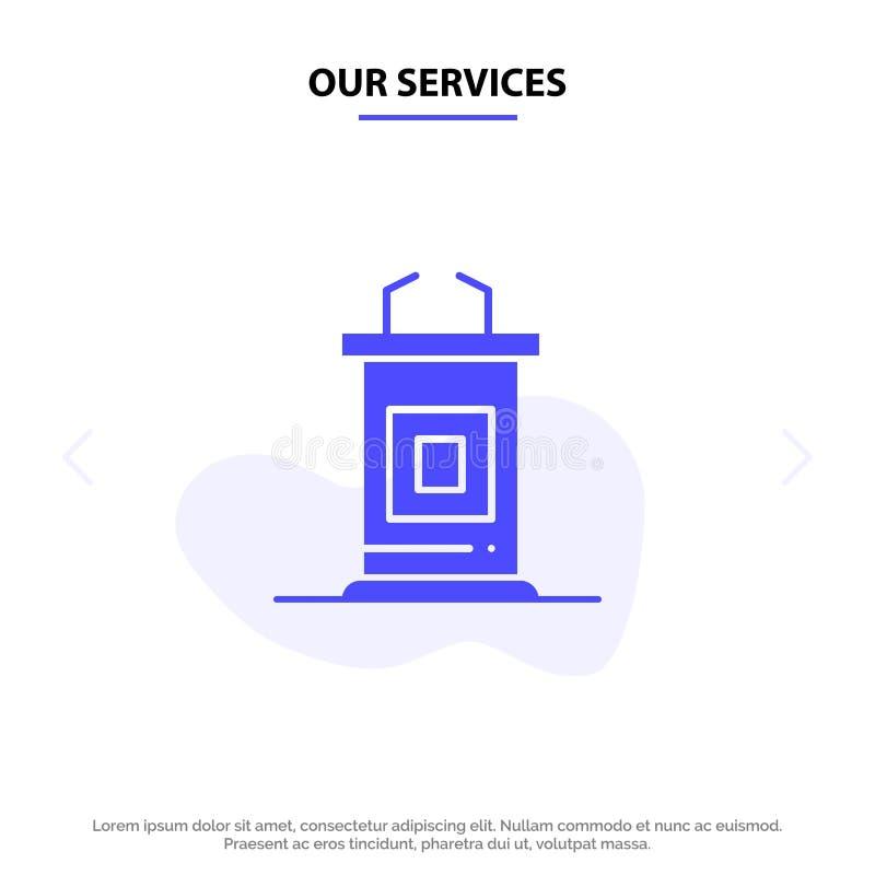 Nasz usługi biurko, konferencja, spotkanie, profesora glifu ikony sieci karty Stały szablon ilustracji