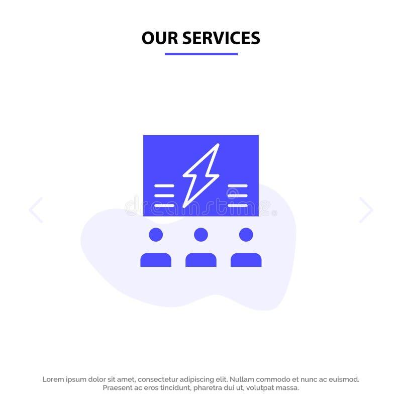 Nasz usługi Brainstorming, grupa, pomysł, rozwiązanie, drużyna, myśl, Myślący Stały glif ikony sieci karty szablon royalty ilustracja