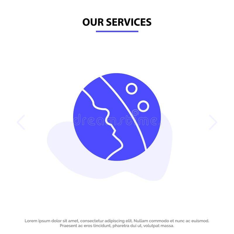 Nasz usługi dermatologia, Sucha skóra, skóra, skóry opieki glifu ikony sieci karty Stały szablon ilustracji