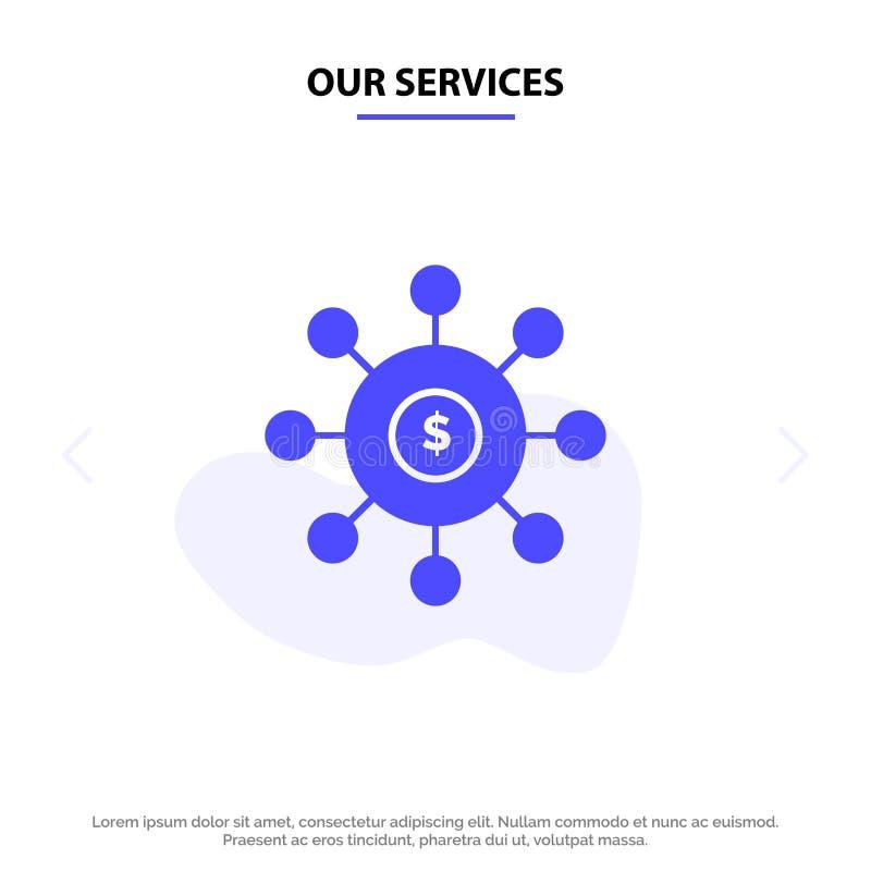 Nasz usługi dolar, pieniądze, związek, obsiewanie, Pieniężny Stały glif ikony sieci karty szablon ilustracji