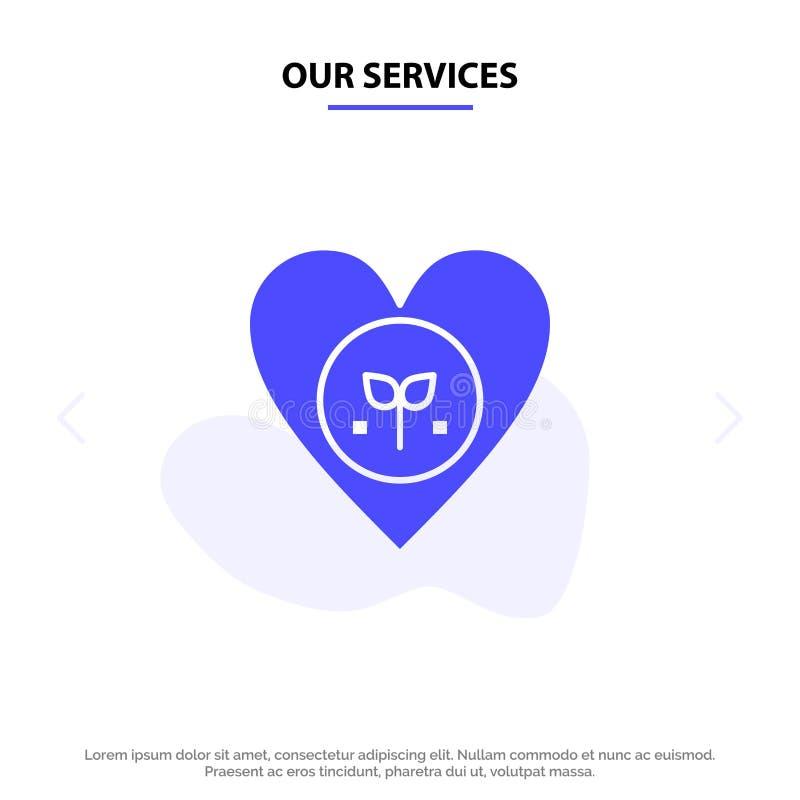 Nasz usługi ekologia, środowisko, faworyt, serce, Jak Stały glif ikony sieci karty szablon ilustracji