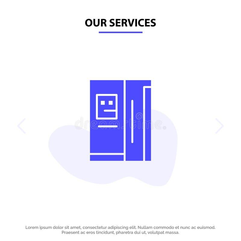 Nasz usługi Fridge, chłodziarka, deaktywacja, chłodnia glifu ikony sieci karty Stały szablon ilustracja wektor