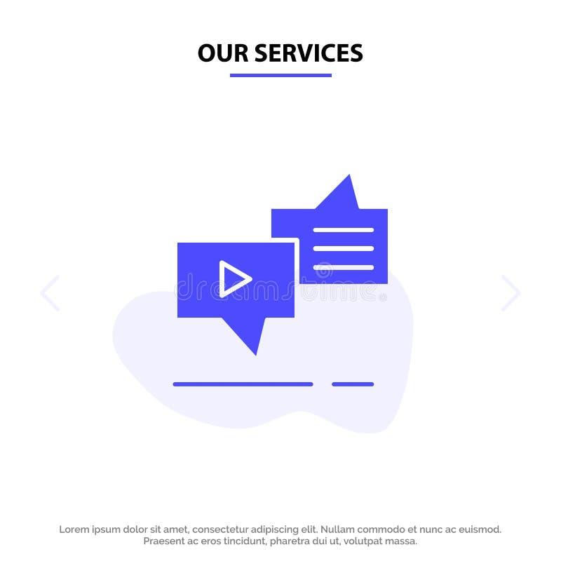 Nasz usługi Gawędzą, związek, marketing, przesyłanie wiadomości, mowa glifu ikony sieci karty Stały szablon ilustracji