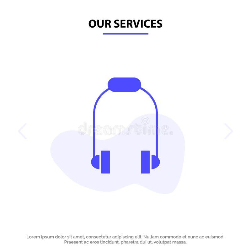 Nasz usługi hełmofon, słuchawka, telefon, Muzyczny Stały glif ikony sieci karty szablon royalty ilustracja