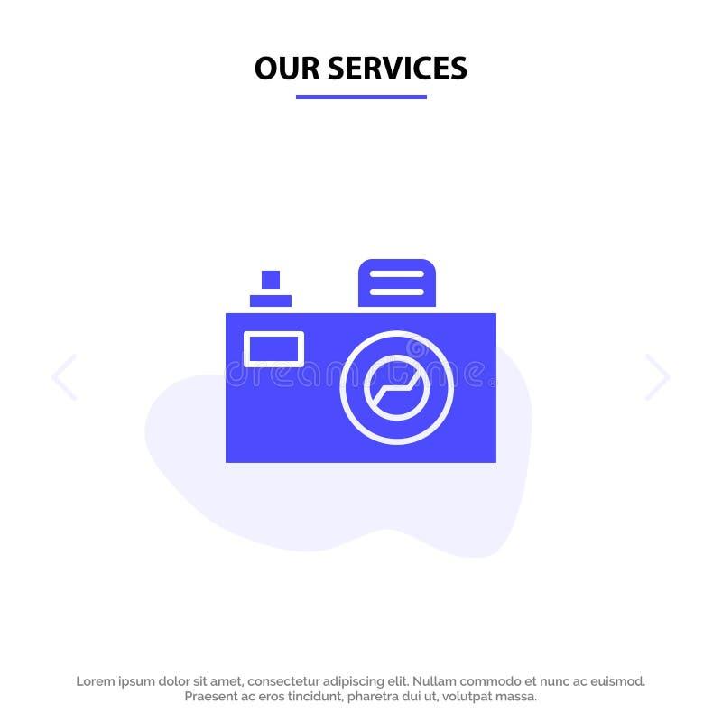 Nasz usługi kamery, wizerunek, projekta glifu ikony sieci karty Stały szablon ilustracji