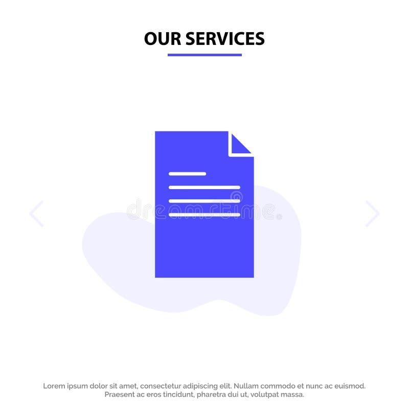 Nasz usługi kartoteki, tekst, dane, Raportowy Stały glif ikony sieci karty szablon royalty ilustracja