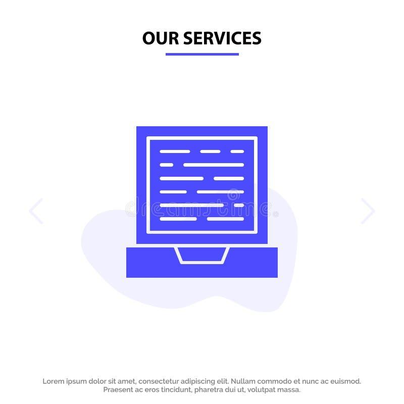 Nasz usługi laptop, komputer, projekta glifu ikony sieci karty Stały szablon ilustracja wektor