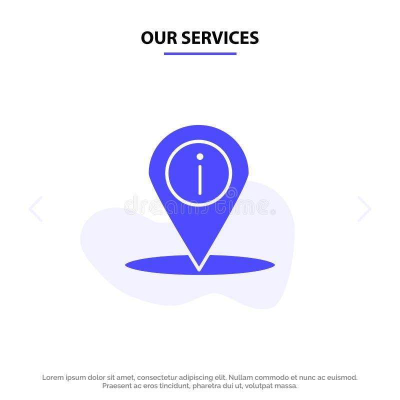 Nasz usługi lokacje, nawigacja, miejsce, ewidencyjny Stały glif ikony sieci karty szablon ilustracji