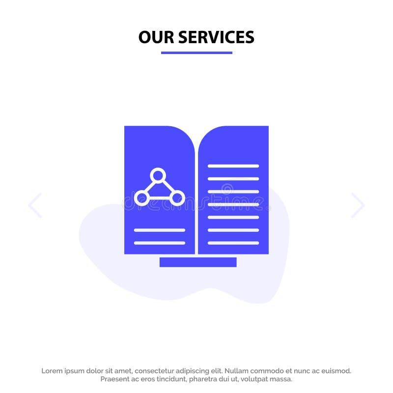 Nasz usługi Medyczne, test, raport, Książkowy Stały glif ikony sieci karty szablon ilustracji