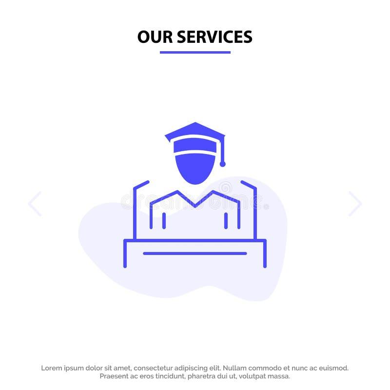 Nasz usługi nakrętka, edukacja, skalowanie, mowa glifu ikony sieci karty Stały szablon ilustracji
