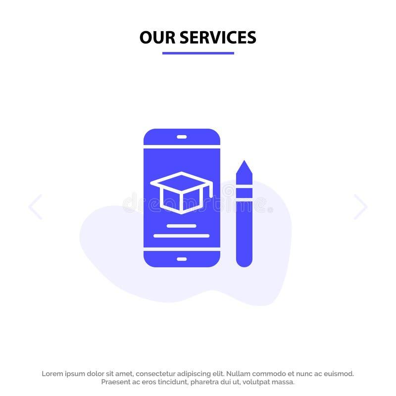 Nasz usługi nakrętka, edukacja, skalowanie, wisząca ozdoba, Ołówkowy Stały glif ikony sieci karty szablon ilustracji