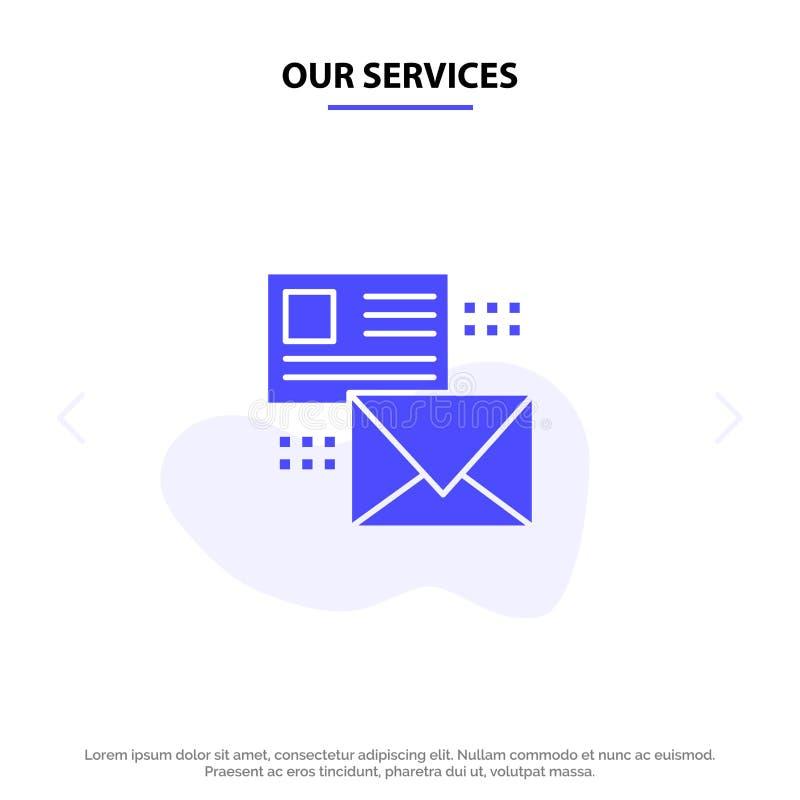 Nasz usługi opancerzanie, rozmowa, emaile, lista, poczta glifu ikony sieci karty Stały szablon ilustracji