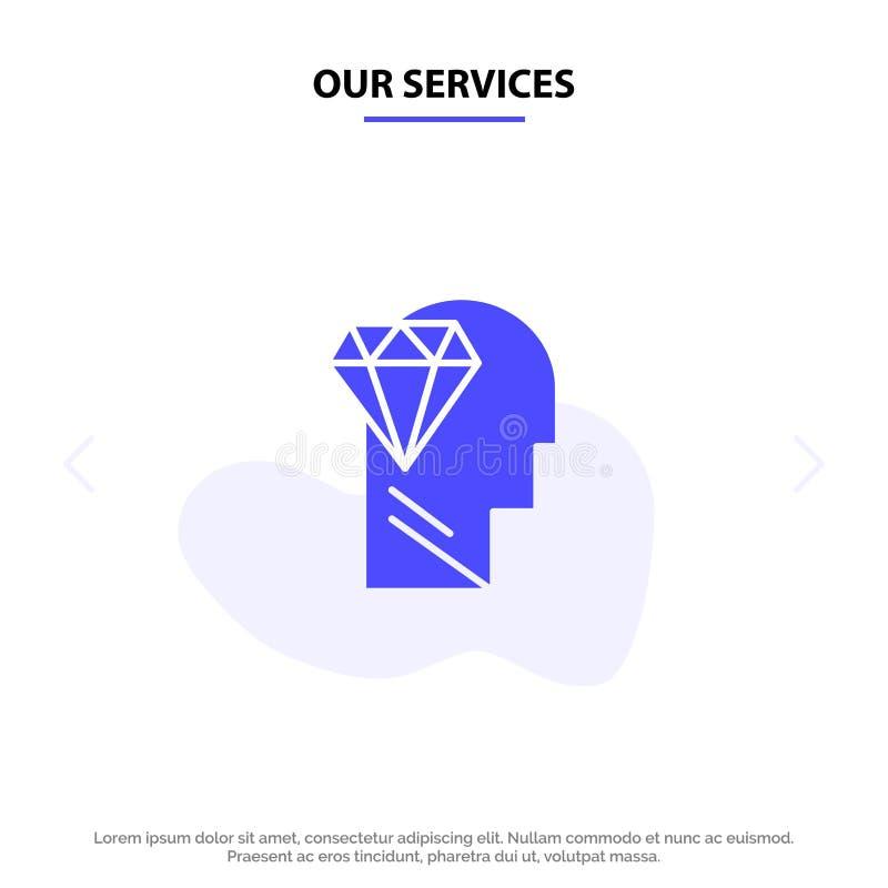 Nasz usługi Pamiętają, doskonałość, diament, Kierowniczy Stały glif ikony sieci karty szablon ilustracji