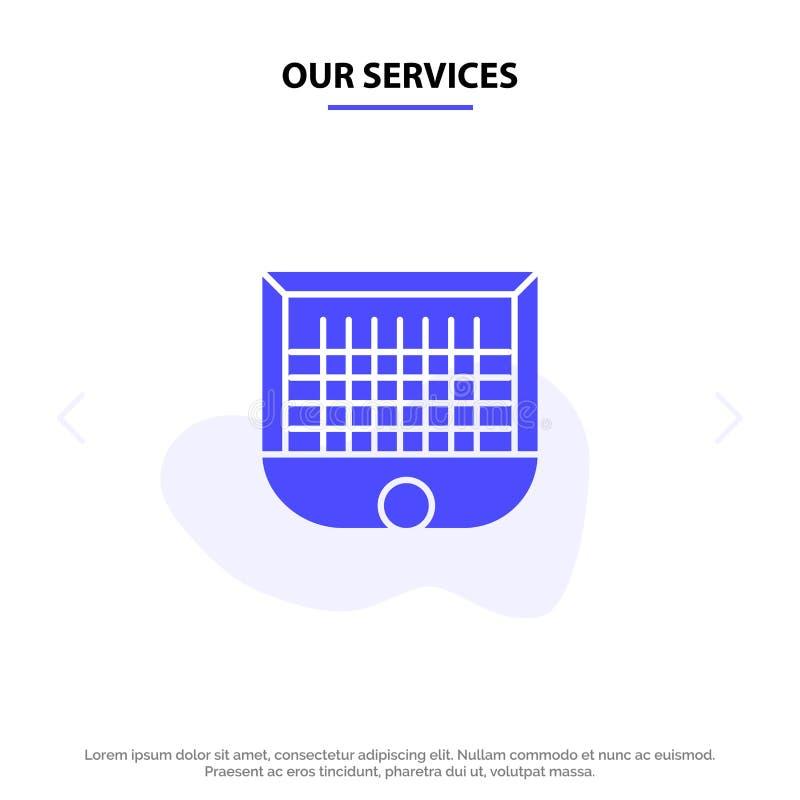 Nasz usługi piłki, brama, słupek bramki, sieć, piłka nożna glifu ikony sieci karty Stały szablon ilustracja wektor