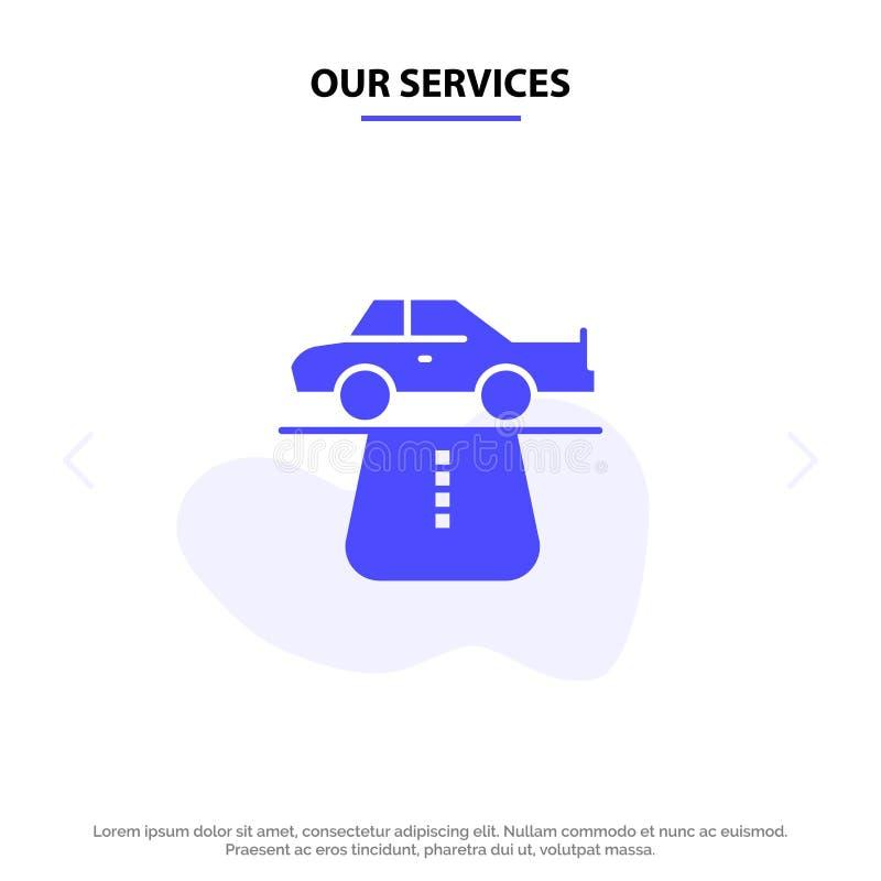 Nasz usługi przewagi, władza, samochód, dywan, wygoda glifu ikony sieci karty Stały szablon ilustracja wektor