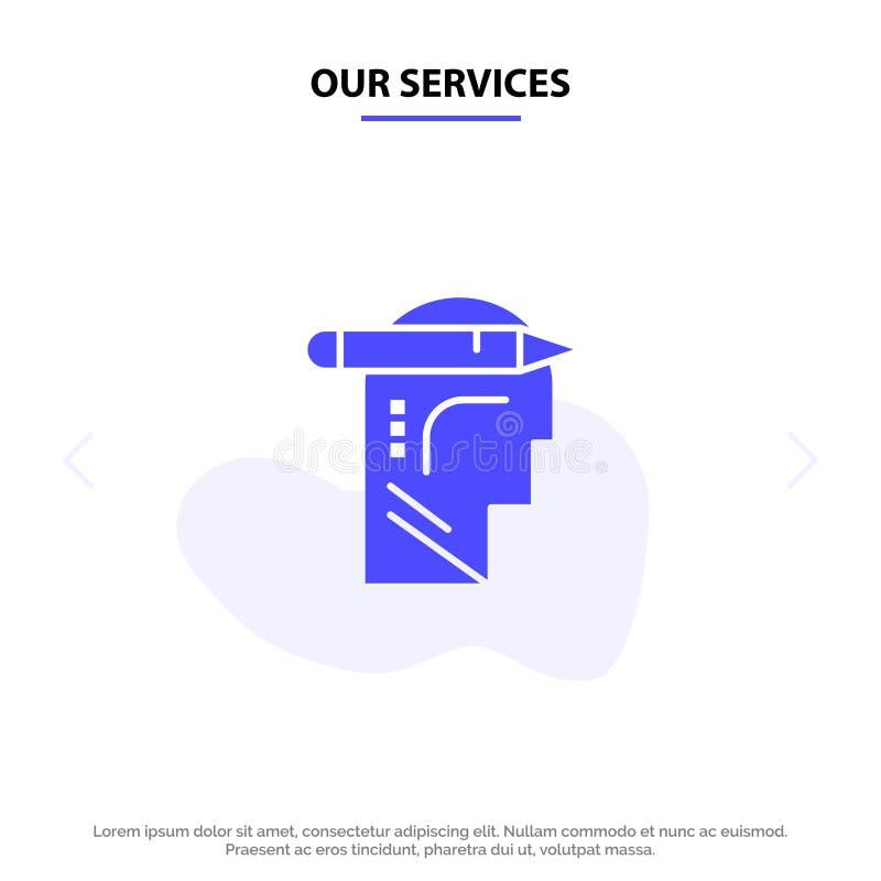 Nasz usługi Przewodzą, Pamiętają, Myśleć, Piszą Stałym glif ikony sieci karty szablonie ilustracji