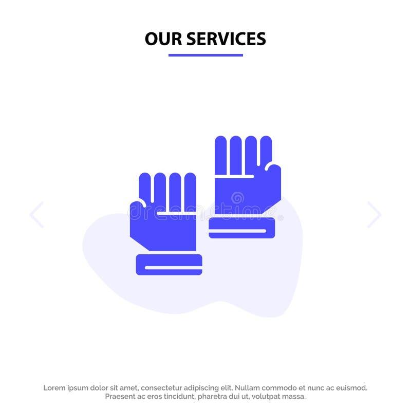 Nasz usługi rękawiczki, rękawiczki, bramkarz, sporta glifu ikony sieci karty Stały szablon ilustracji