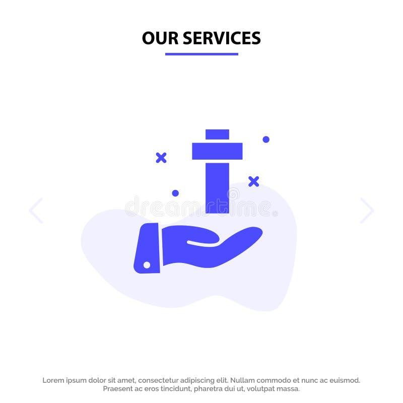 Nasz usługi ręki, świętowanie, chrześcijanin, krzyż, Wielkanocny Stały glif ikony sieci karty szablon royalty ilustracja