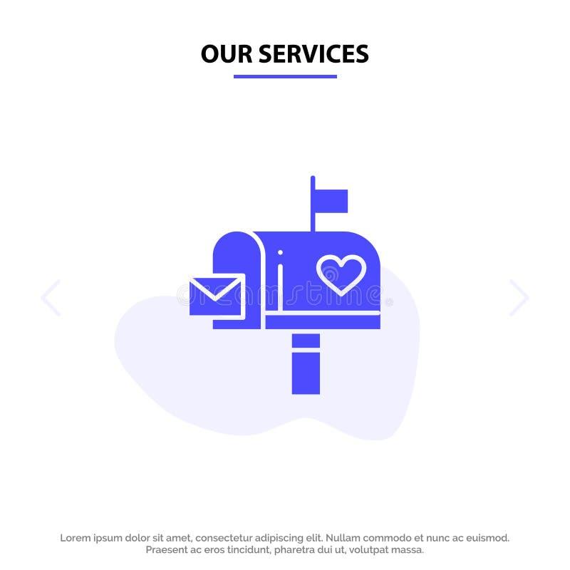 Nasz usługi skrzynka pocztowa, poczta, miłość, list, Listowego pudełka glifu ikony sieci karty Stały szablon ilustracji