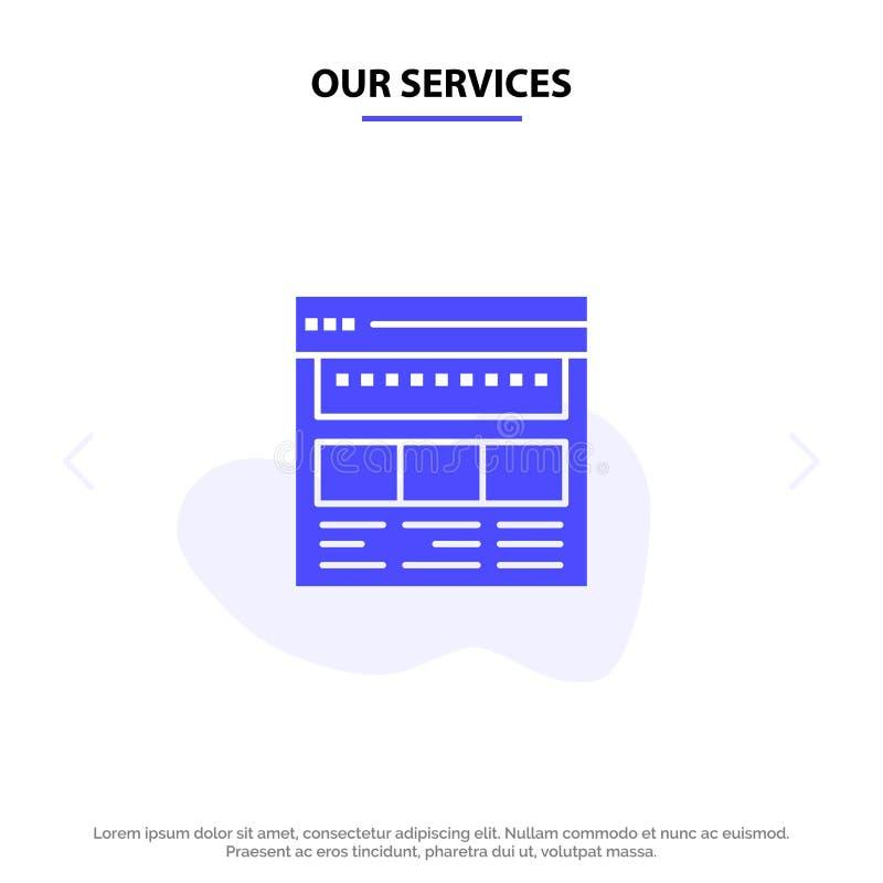 Nasz usługi strony internetowe, wyszukiwarka, biznes, Korporacyjny, strona, sieć, Webpage glifu ikony sieci karty Stały szablon ilustracja wektor