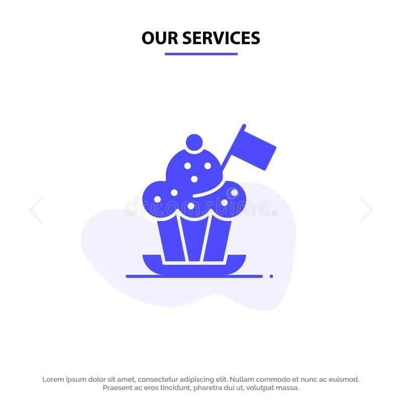 Nasz usługi szef kuchni, szefa kuchni kapelusz, kuchenka, kuchenka kapelusz, Chorągwiany Stały glif ikony sieci karty szablon ilustracja wektor