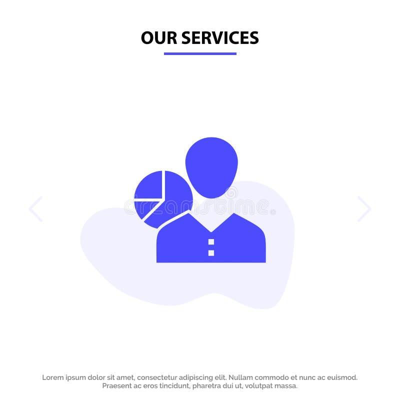 Nasz usługi wykres, mapa, dane, pracownik, kierownik, osoba, statystyki glifu ikony sieci karty Stały szablon ilustracji