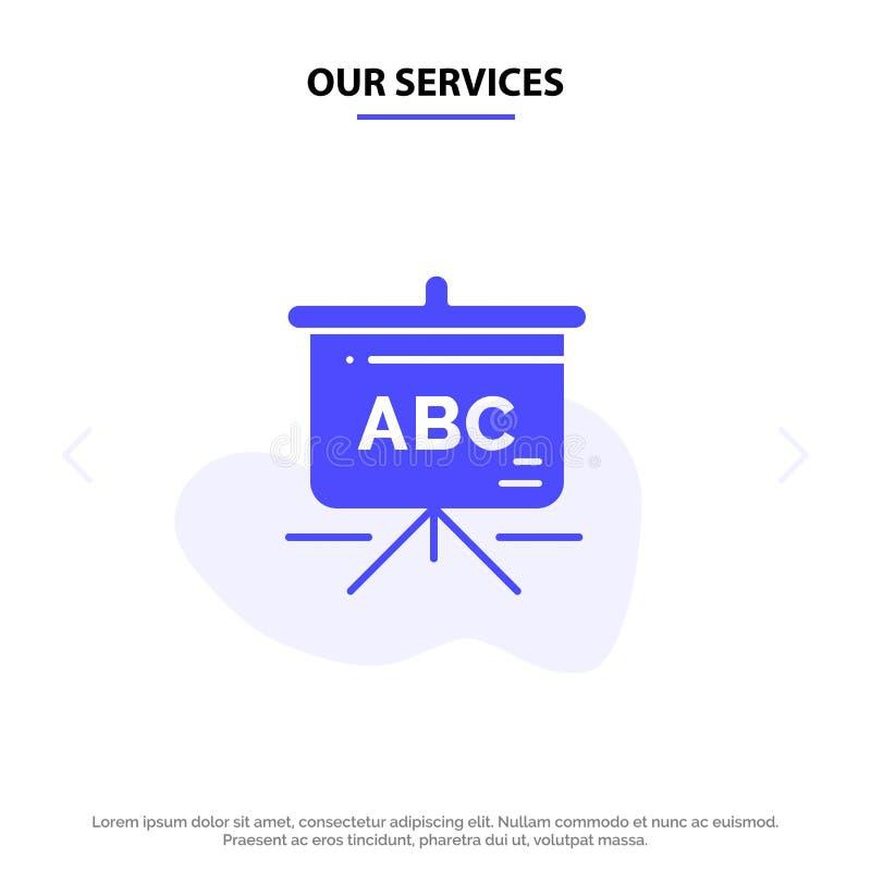 Nasz usługi Zdosą, edukacja, Schoolbag glifu ikony sieci karty Stały szablon royalty ilustracja