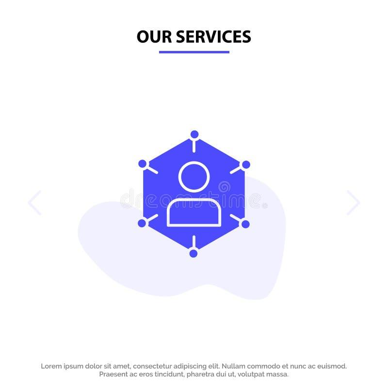 Nasz usługi związek, komunikacja, sieć, ludzie, ogłoszenie towarzyskie, socjalny, użytkownika glifu ikony sieci karty Stały szabl ilustracji