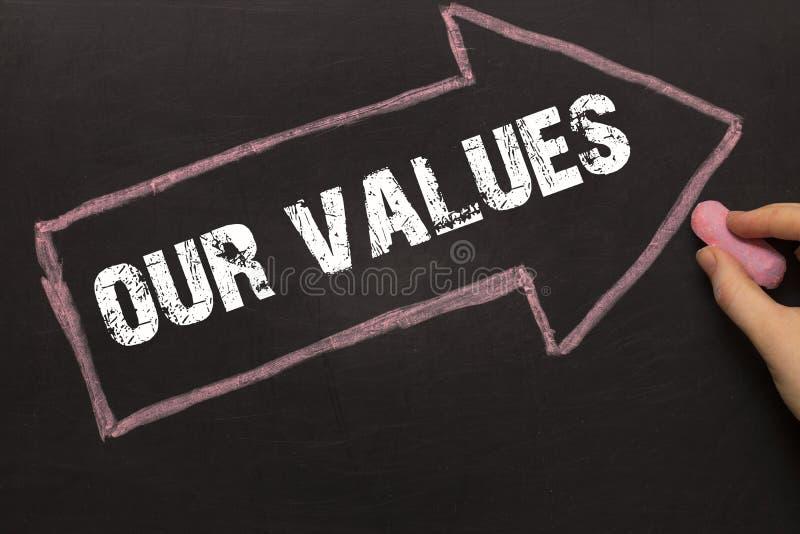 Nasz wartości - Chalkboard z strzała na czerni zdjęcia stock