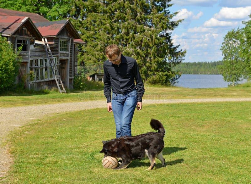 Nasz zwierzęta domowe Bawić się z psem w piłce fotografia royalty free