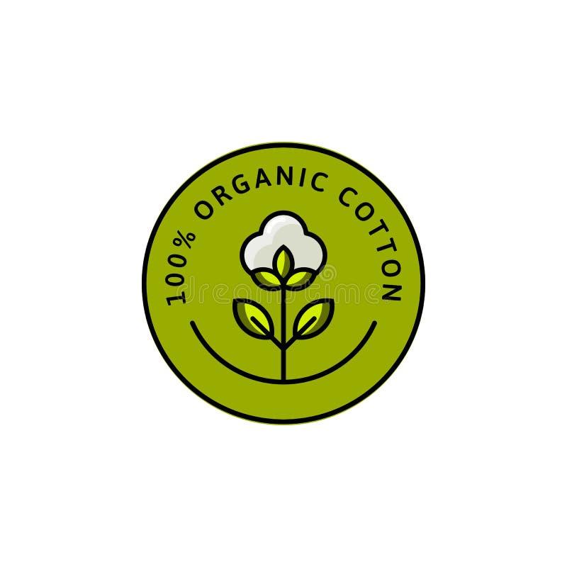 Natürliche Biobaumwolle-Zwischenlagenaufkleber und Ausweise - Vektor-runde Ikone - Aufkleber - Logo - gestempelt - Umbau-Baumwoll stock abbildung