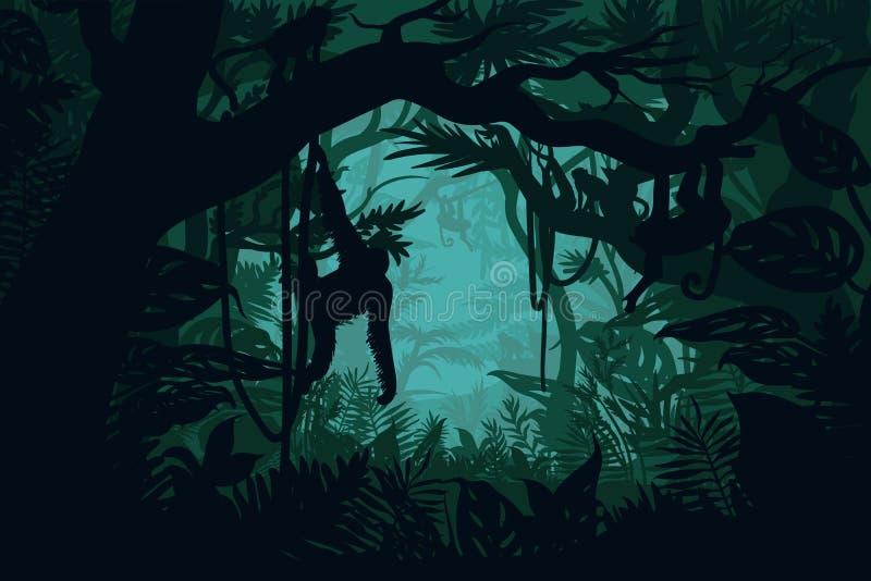 Natürliche Dschungel-Landschaftsschablone lizenzfreie abbildung