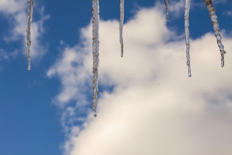 Natürliche Eiszapfen mit Wassertropfen gegen den blauen Himmel mit Wolken stockfoto