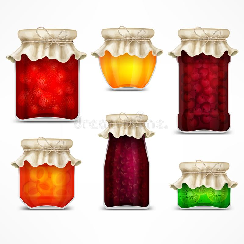 Natürliche Fruchtmarmelade konserviert Gläser und Retro- Deckel vektor abbildung
