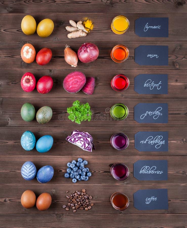 Natürliche gefärbte Ostereier stockbilder