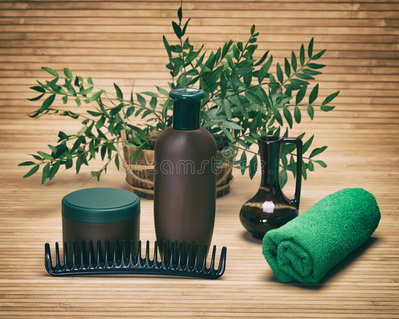Natürliche Haarpflegeschönheitsprodukte stockbild