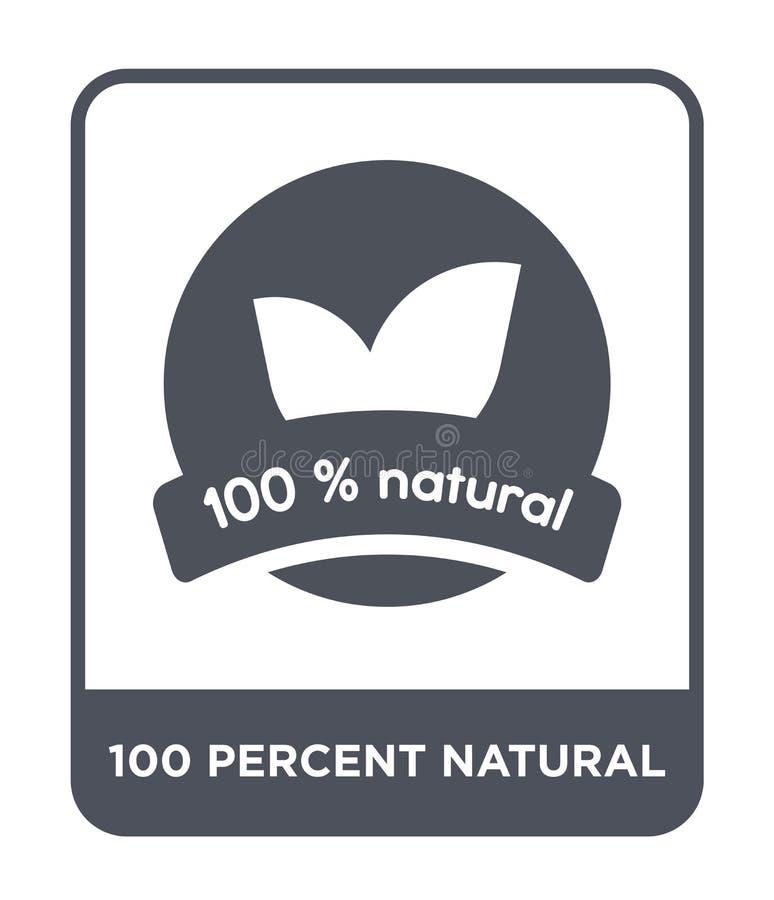 natürliche Ikone von 100 Prozent in der modischen Entwurfsart natürliche Ikone von 100 Prozent lokalisiert auf weißem Hintergrund stock abbildung