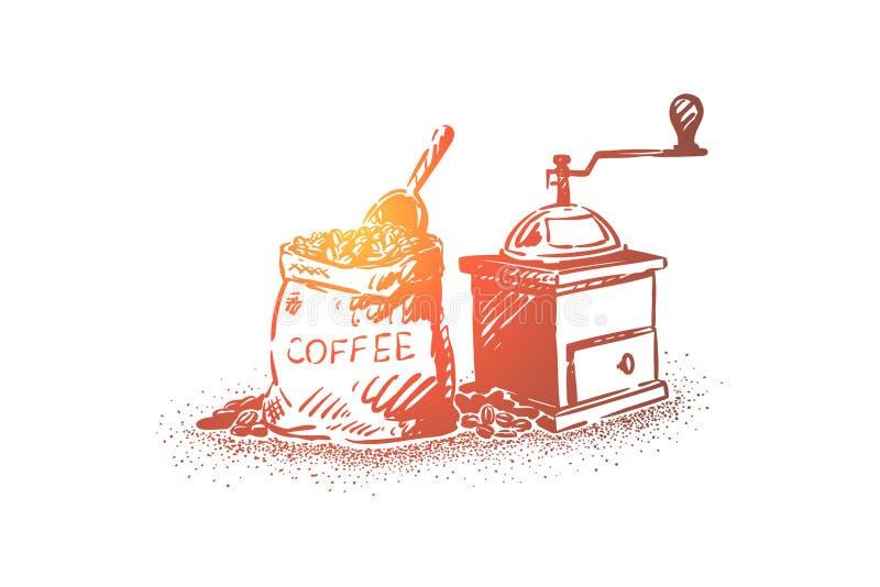 Natürliche Kaffeebohnen, die Ausrüstung, Sack mit Körnern und Paddel, alten manuellen Schleifer reiben stock abbildung