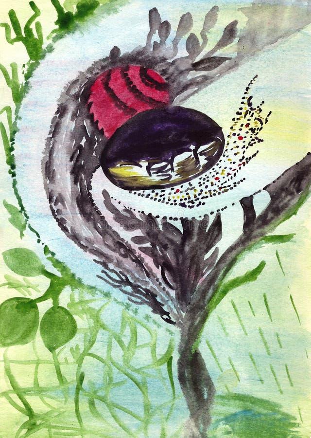 Natürliche Kapsel mit den Samen des Lebens stockbilder