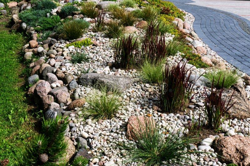 Natürliche Landschaftsgestaltung im Hausgarten lizenzfreies stockfoto