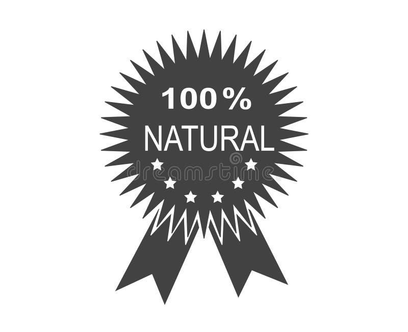 Natürliche Medaillenikone in Schwarzweiss Flache Designikone Natürliche Bestandteile lizenzfreie abbildung
