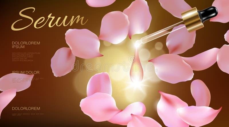 natürliche organische kosmetische Anzeige der realistischen Blume 3d Rosen-Rosablumenblattglasserumwesentlichgesichtsöl-Tröpfchen lizenzfreie abbildung