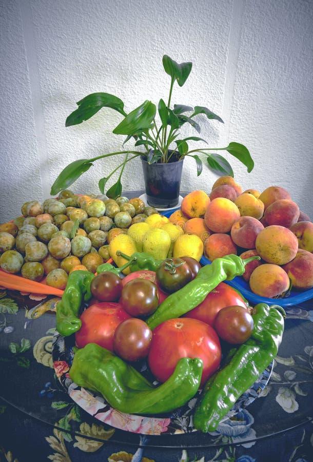 100% natürliche organische Tomaten und Früchte vom Garten Nicht-GMO-Tomaten und -frucht stockfoto