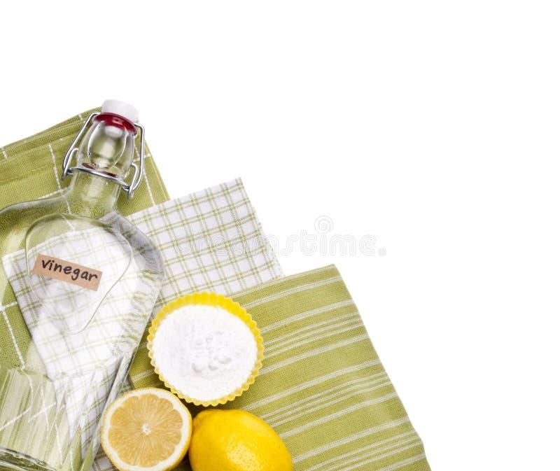 Natürliche Reinigungs-Zitronen, Backen-Soda, Essig stockbild