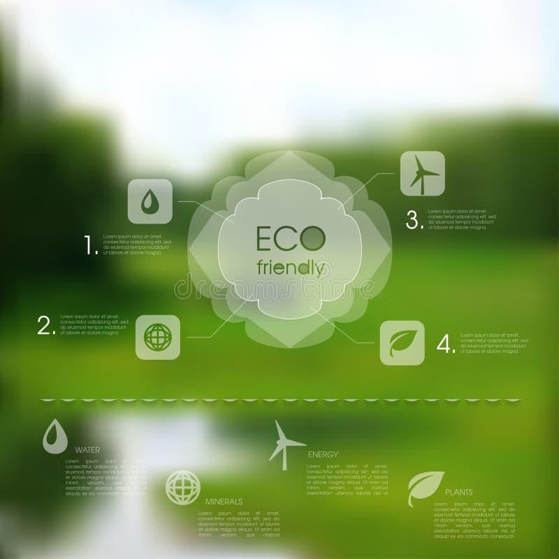 Natürliche Schablone des Vektors für eco Website lizenzfreie abbildung